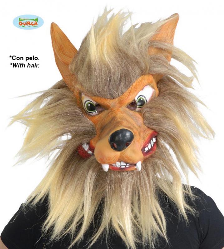 Masky na tvár - Maska vlka s vlasmi