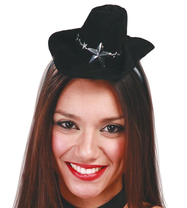Klobúky a čiapky - Kovbojský miniklobouček na sponě