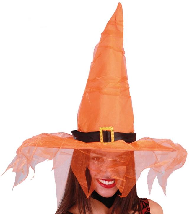Klobúky a čiapky - Oranžový klobúk s tylom