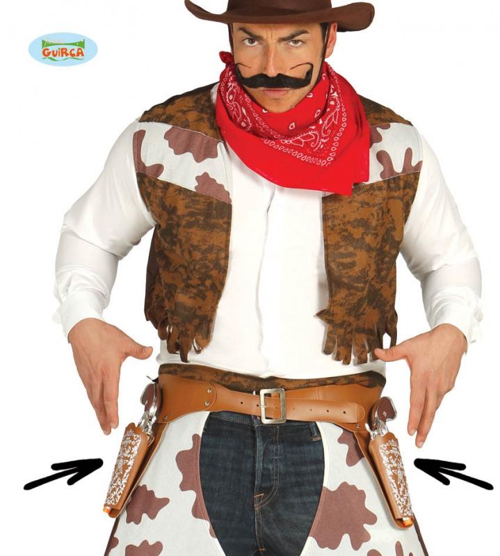Doplnky - Opasok kovbojský s dvoma puzdrami a pištoľami