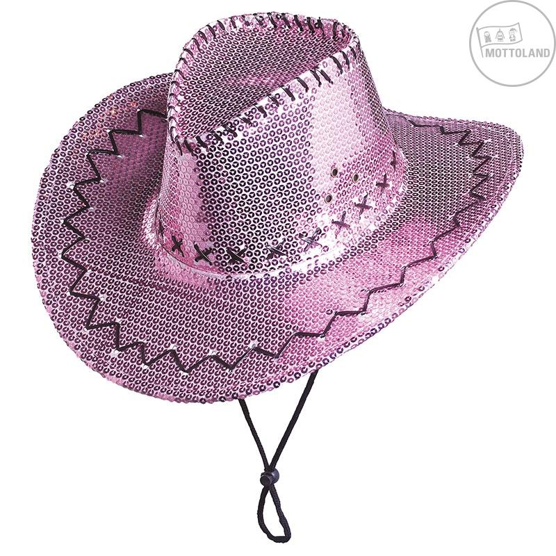 Klobúky a čiapky - Flitrový klobúk kovbojský ružový