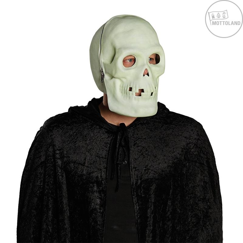 Masky na tvár - Celohlavová maska fluoreskujúce - lebka