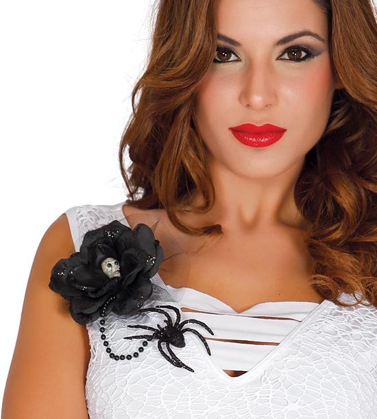 Doplnky - Čierna kvetina s lebkou a pavúkom