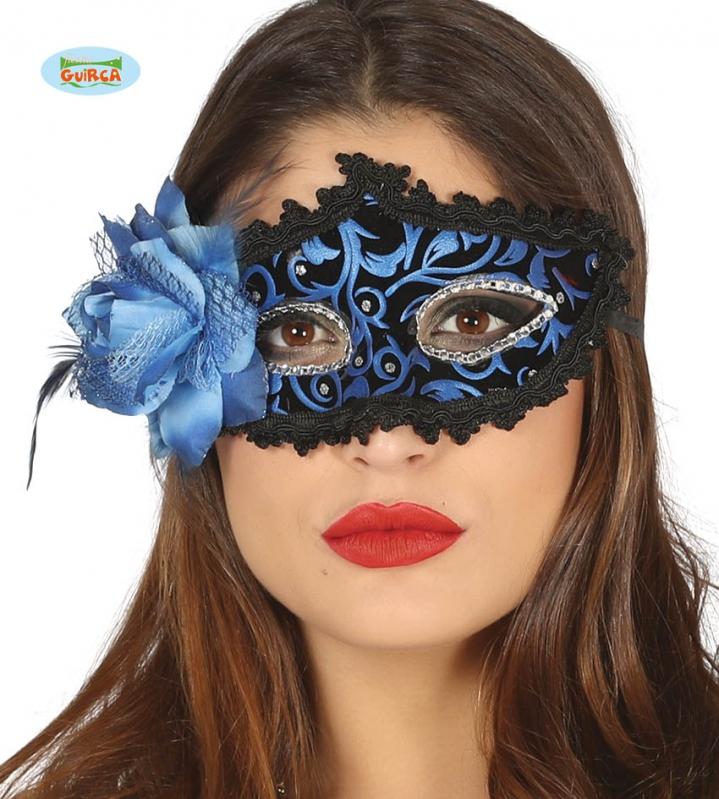 Masky - Modrá maska s perím