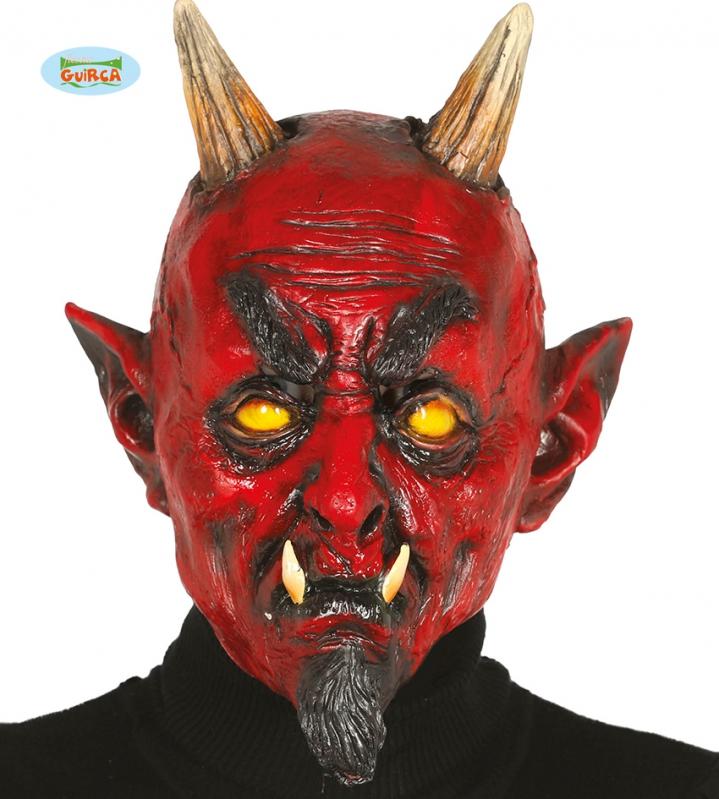 Masky - Latexová maska démon s rohami