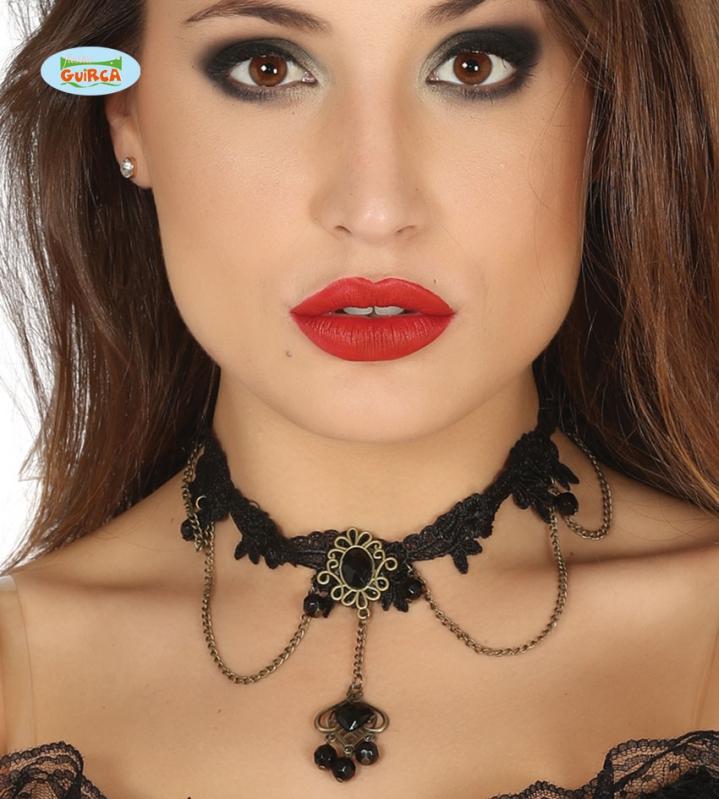 Doplnky - Čierny náhrdelník s čiernym kameňom