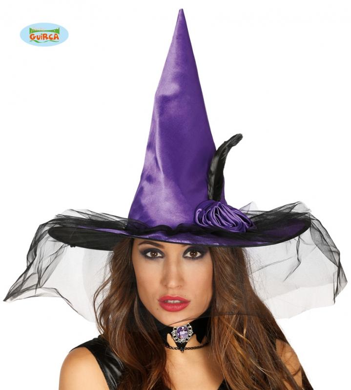 Klobúky a čiapky - Čarodejnícky klobúk fialový s ozdobou