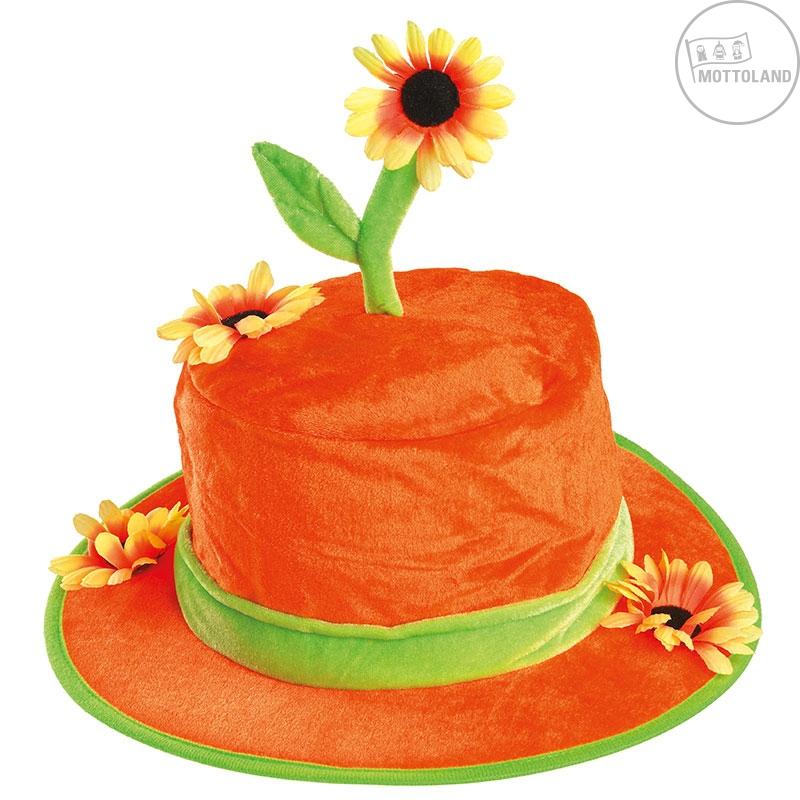 Klobúky a čiapky - Oranžový klobúk so slnečnicou