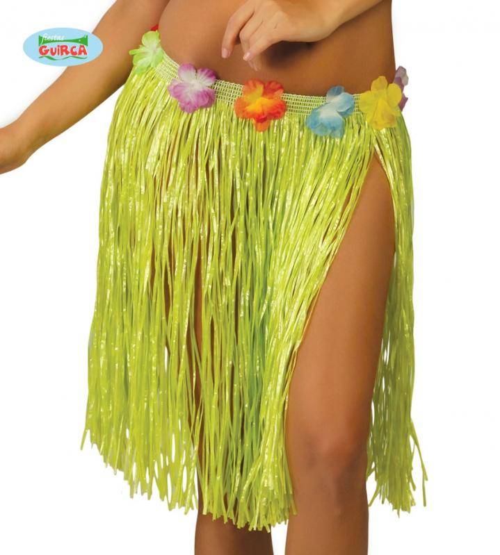 Doplnky podla zamerania - Havajská sukňa s kvetmi zelená - 45 cm