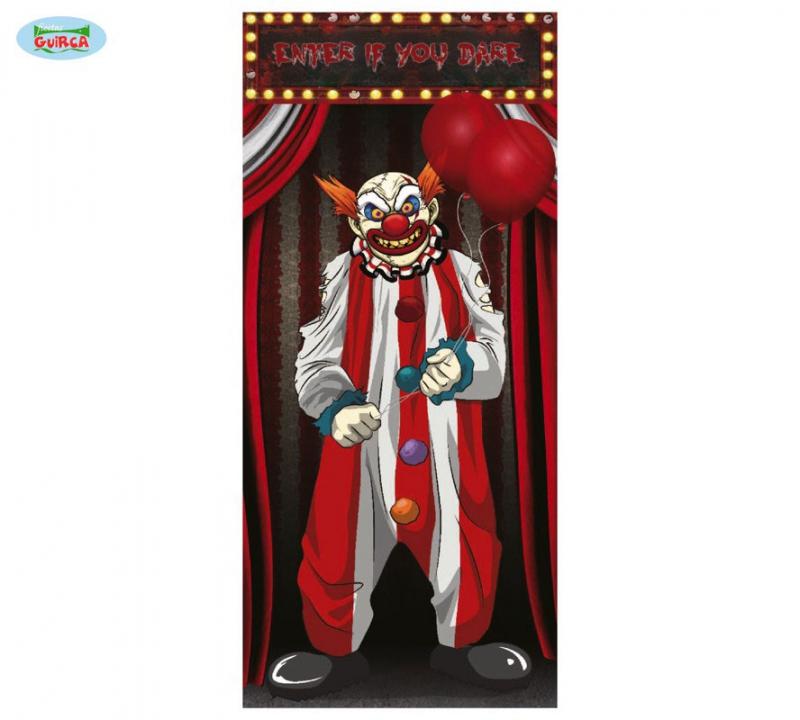 Doplnky - Dekorácia dverí Horror Clown 75x150cm