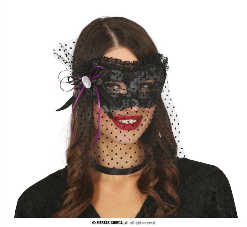 Masky - Čierna maska so závojom