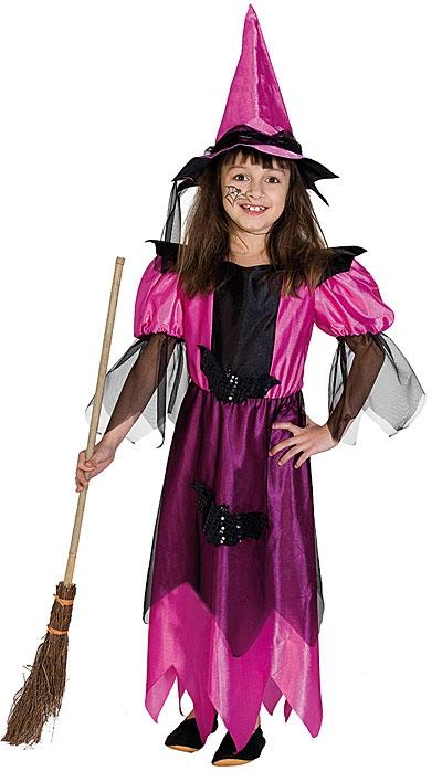 Kostýmy - Polnočná čarodejnica ružová s klobúkom