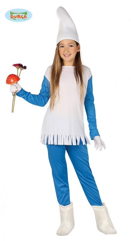 Kostýmy - Modrý škriatok - dievčenský kostým