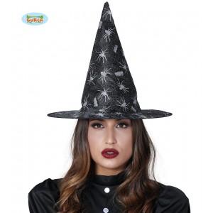 Čarodějnický klobouk s pavouky a sítí