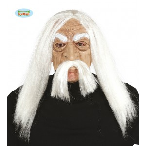 Latexová maska METHUSALEM s vlasy